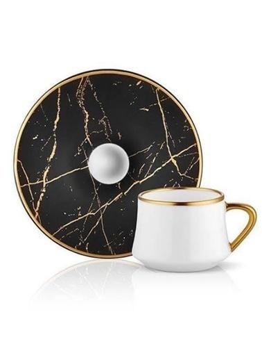 Koleksiyon Sufi Türk Kahvesi Seti 6 lı Mermer Siyah Altın Renkli